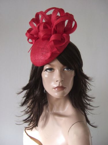 "Watermelon Coral Beret Fascinator with Swirls Hat ""Steph"" Headpiece Royal Ascot Kentucky Derby Races"